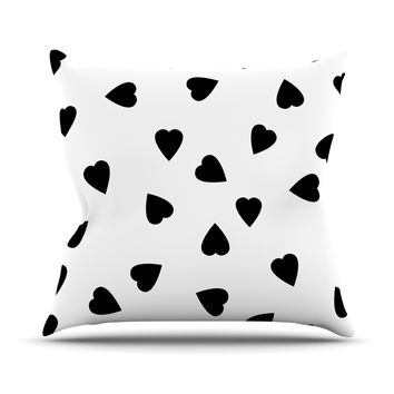 """Suzanne Carter """"Hearts Black"""" White Throw Pillow"""