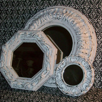 3 Shabby Chic Ornate Chippy White Mirrors