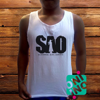 Sword Art Online SAO Logo Men's White Cotton Solid Tank Top