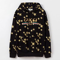 GUCCI New fashion letter stripe more star moon print hooded long sleeve sweater top Black