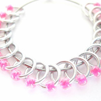 Tiny Sock stitch markers | Lace stitch marker | Knitting marker | Knitting supplies | silver rings; neon pink beads | #0520