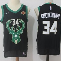 Best Deal Online NBA Authentic Basketball Player Jerseys Milwaukee Bucks # 34 Giannis Antetokounmpo Black