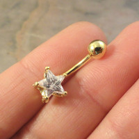Gold Star Belly Button Jewelry Ring