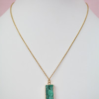 rectangle druzy necklace-green