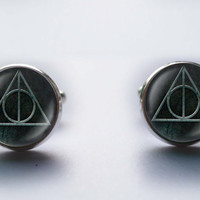 Vintage look Harry Potter Deathly Hallows cuff links Accessories Wedding gifts