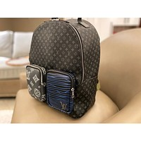 Louis Vuitton Classic Fashion LV Print Backpack Spliced Pocket Backpack