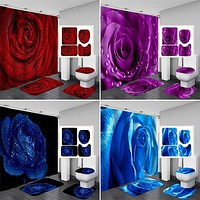4pcs Rose Bathroom Curtains Sets Nature Flowers Waterproof Polyester Shower Curtains Toilet Cover Mat Non-Slip Bath Rug Set