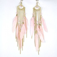 Golden Tone Pink Feather Drop Earring