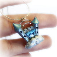 Castle in the sky polymer clay pendant fantasy by UraniaArt