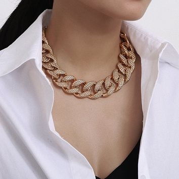 Exaggerated Big Golden Thick Chunky Chain for Female Hip Hop Choker Statement Fashion Short Clavicle Chain Necklace