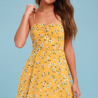 Daisies Go By Mustard Yellow Floral Print Dress