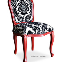 Fabulous and Baroque — Fabulous & Baroque French Side Chair - Red w/ Black & White Damask