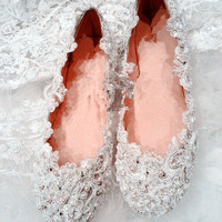 Handmade Pearl White lace wedding shoes handmade leather Pearl beads Bridal shoes Bridal flat heel shoes Bridesmaids shoes
