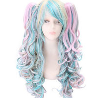 curly lolita wig ponytails sweet lolita wig harajuku lolita wig anime cosplay wig anime party supplies halloween head wear