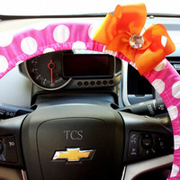 Hot Pink and White Polka Dot Steering Wheel Cover with Bow