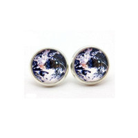 Planet Earth Blue Galaxy Space Post Stud Silver Glass Earrings - GALAXY