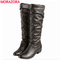 Large size 2016 new arrive Winter Knee high Women Boots Black White Brown flat heels half boots autumn winter shoes woman