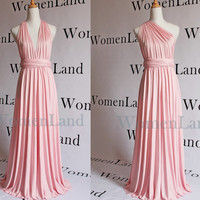 Baby Pink Custom Handmade Infinity Wrapping Convertible Bridesmaid Dress Multiple Wrapping Floor Length Evening Gown Plus Size Woman Dress