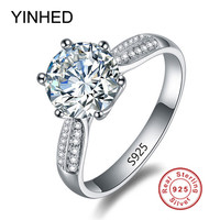 100% Solid Silver Ring Stamp S925 Big 3 Carat SONA CZ Diamond Engagement Ring 925 Sterling Silver Wedding Rings for Women ZR207