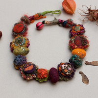 Rustic chunky necklace, fiber art statement jewelry, crochet with fabric buttons and fiber and felt beads and sequins, autumn colors, OOAK
