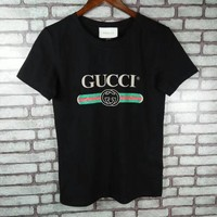 """Gucci"" Women Casual  Simple Letter Print Short Sleeve Round Neck T-shirt Tops"