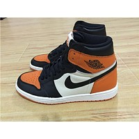 Air Jordan 1 black orange while Basketball Shoes 40-47