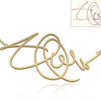 Signature Necklace -Personalized jewelry 14K gold necklace, handwriting necklace