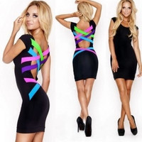 Fashion Little Black Pencil Midi Dress Bandage Neon Strappy party Cocktail (Size M Color Black)
