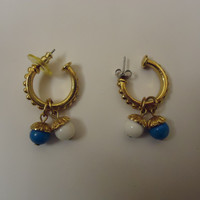 Designer Fashion Earrings Drop/Dangle Metal Female Adult Gold/Blue/White -- Preowned