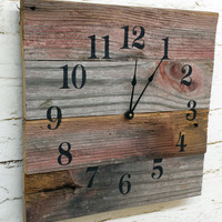 Reclaimed Barn Wood Clock Recycled Like a Pallet Clock Barnwood Rustic Primitive Shabby Cottage Chic Handmade Made in USA Christmas Gift