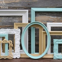 Aqua, Gold and White Picture Frame Set / Shabby Chic Decor / Ornate Picture Frames / Gallery Wall Collection / Ainsworth Collection