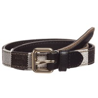 Beige Check Belt with Leather Trim