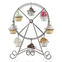 Francois et Mimi DCP0008 8-Cup Metal Rotating Ferris Wheel Cupcake and Dessert Stand Holder, Chrome Finish, Updated Larger Cup Size