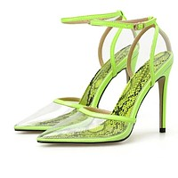 Women Fashion Snake Print PVC Transparent Ankle Strap High Heel Pumps