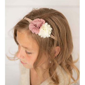 Ivory & Dusty Pink Cluster Flower Elastic Headband