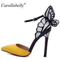 Big Size 2017 Thin High Heels Women Pumps 8/11cm ,Butterfly Heels Sandals,Sexy Wedding Shoes Party  yellow purple black