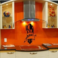Wall Decals Vinyl Sticker Decal Mural Art Design Set of Knife Fork and Spoon Cafe Kitchen Chu512
