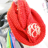 Red Infinity Scarf  Monogram Font Shown MASTER CIRCLE