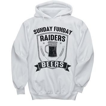 Sunday Funday Oakland Silver and Black Football Beers Hoodie