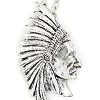 Indian Chief Necklace Native American Warrior Pendant NU20 Fashion Jewelry