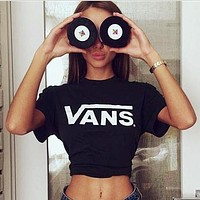 VANS Couple Loose Letter Print Short Sleeve Round Neck T-Shirt Pullover