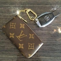 LV tide brand female classic old flower retro chain coin purse key bag coffee print