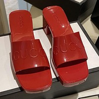G GG slippers summer new open-toed thick heel mid-heel slippers increase one-word drag and wear sandals Shoes Red