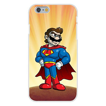 Apple iPhone 6 Custom Case White Plastic Snap On - 'Plumbers League of America' Fast Flying Caped Character Funny Video Game & Super Hero Team Parody