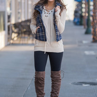 Plaid Kinda Party Front Zipper Button Up Padded Plaid Vest (Navy/Taupe)