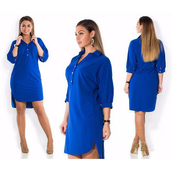 Big size 6XL 2016 Fat MM Woman dress Summer solid sexy split irregular shirt dresses plus size women clothing 6xl dress