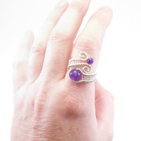 Sterling Silver 925 and Amethyst ring. Febuary Birthstone, Healing Gemstone. Wire wraped, Adjustable.
