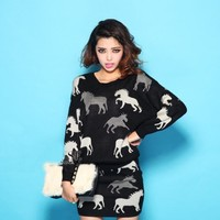 Cute Horse Sweater and Skirt Set