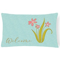 Flowers Welcome Canvas Fabric Decorative Pillow BB8552PW1216