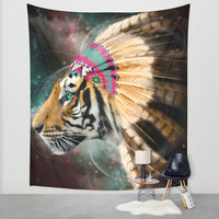 Fight For What You Love (Chief of Dreams: Tiger) Tribe Series Wall Tapestry by Soaring Anchor Designs
